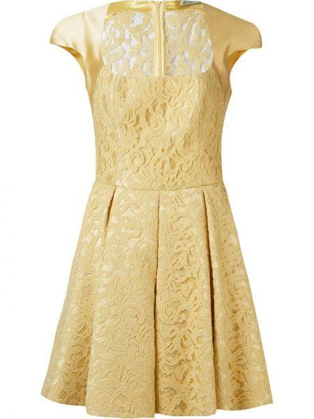 Шелковое желтое расклешенное ажурное платье Martha Medeiros