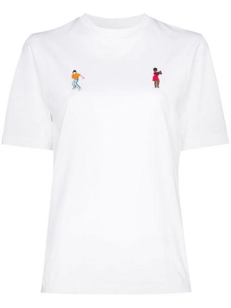 Biały t-shirt bawełniany z haftem Kirin
