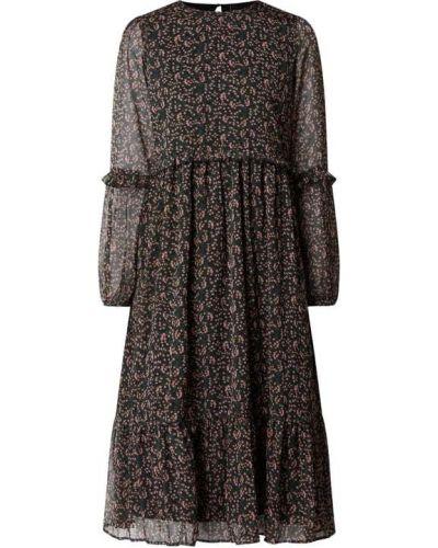 Czarna sukienka midi rozkloszowana z falbanami Y.a.s