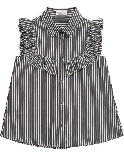 Czarna bluzka w paski bawełniana Brunello Cucinelli Kids