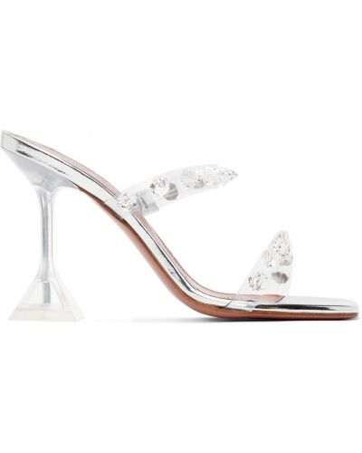 Серебряные сандалии на каблуке Amina Muaddi