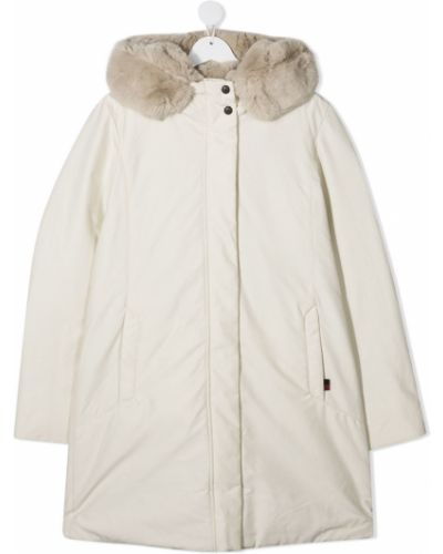 С рукавами пуховое белое длинное пальто с опушкой Woolrich Kids