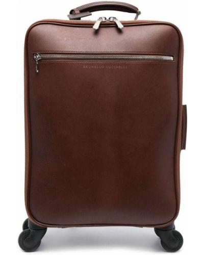 Кожаный коричневый чемодан на молнии Brunello Cucinelli