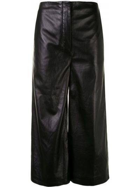 Кожаные черные укороченные брюки с высокой посадкой с потайной застежкой Altuzarra