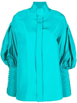 Niebieska koszula z jedwabiu zapinane na guziki Dice Kayek