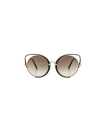 Солнцезащитные очки металлические золотой Miu Miu