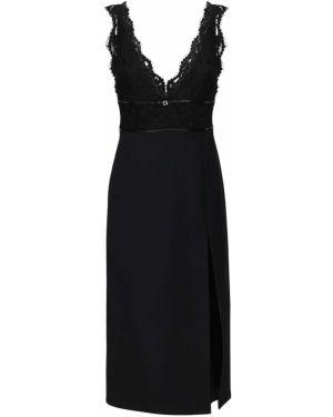 Платье с поясом со вставками с V-образным вырезом Gucci