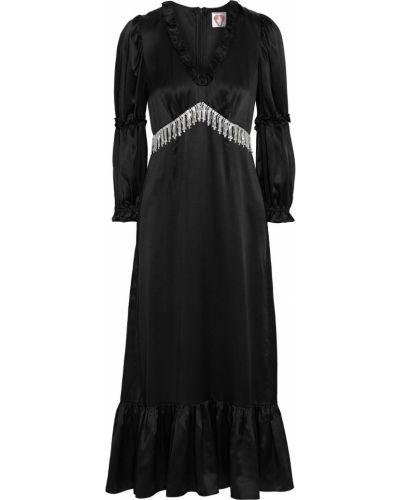 Черное платье миди с бахромой с манжетами Shrimps