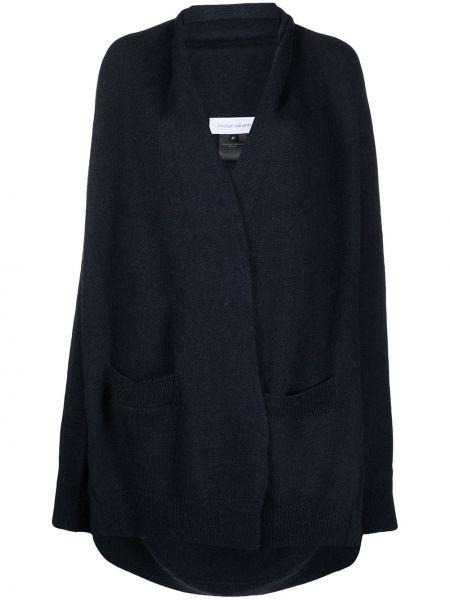 Тонкое с рукавами синее длинное пальто Christian Wijnants