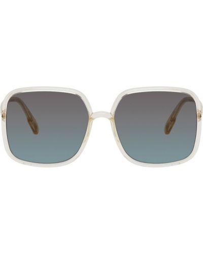 Желтые солнцезащитные очки прозрачные квадратные Dior