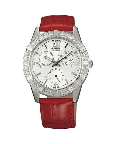 Часы на кожаном ремешке кварцевые водонепроницаемые с камнями Orient
