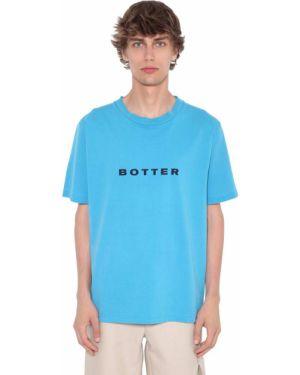 Niebieski t-shirt bawełniany z printem Botter