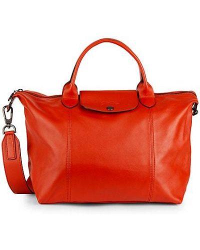 Оранжевый кожаный ранец с карманами Longchamp