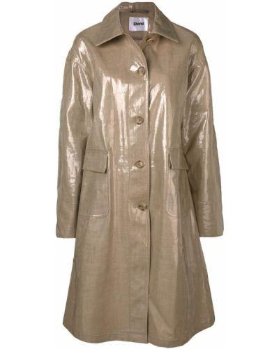 Бежевое пальто классическое с капюшоном с воротником Stand