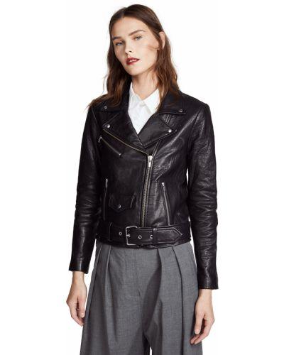 Черная кожаная длинная куртка с подкладкой Veda