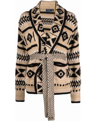 Коричневый кардиган из альпаки с вышивкой Polo Ralph Lauren