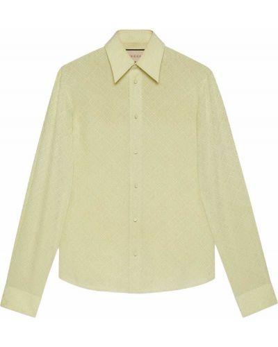 Koszula z jedwabiu - zielona Gucci