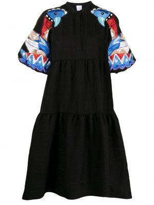 Черное хлопковое платье миди Stella Jean