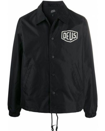 Классическая черная облегченная длинная куртка с манжетами Deus Ex Machina
