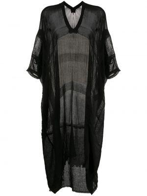Черное платье мини прозрачное с короткими рукавами Masnada