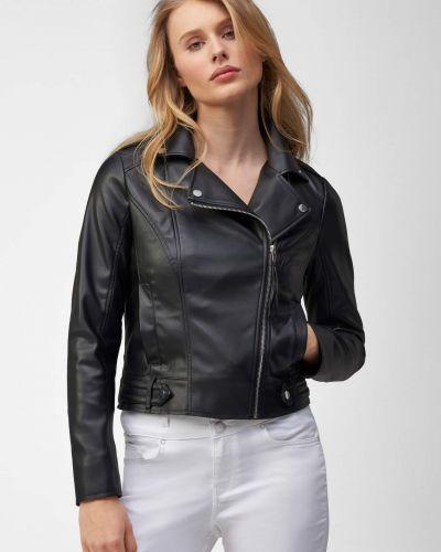 Z rękawami czarny długa kurtka z kołnierzem Orsay