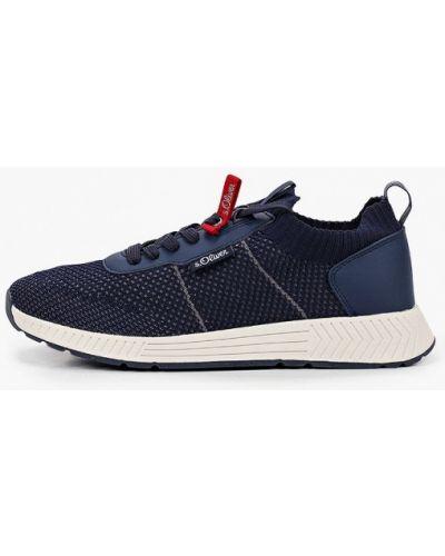Синие кожаные кроссовки S.oliver
