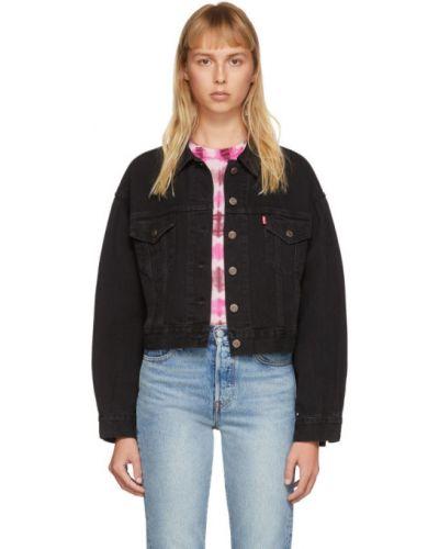 Włókienniczy czarny jeansy do kostek z kieszeniami z kołnierzem Levi's