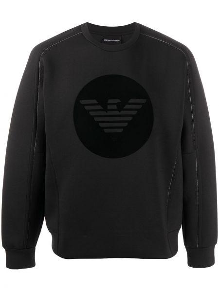 Prosto czarny bluza z wiskozy z długimi rękawami Emporio Armani