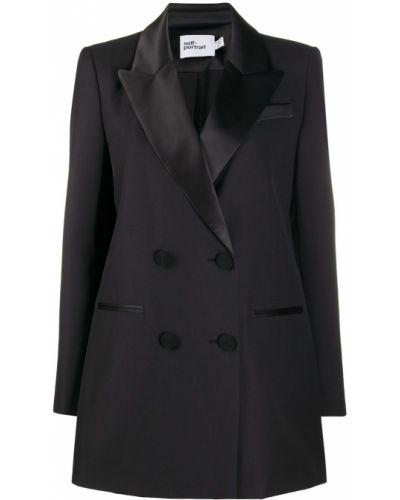 Шерстяной черный удлиненный пиджак двубортный Self-portrait