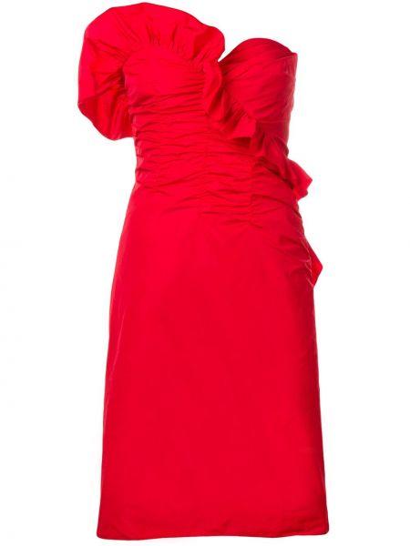 Асимметричное приталенное платье со складками с оборками Alexa Chung