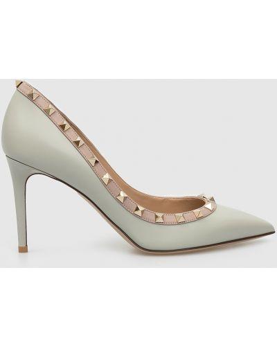 Серые кожаные туфли-лодочки Valentino
