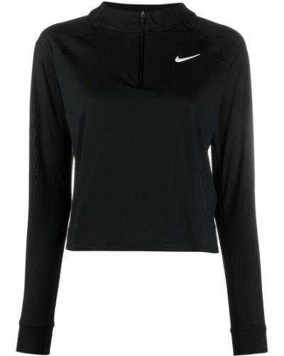 Черный топ на молнии с воротником Nike