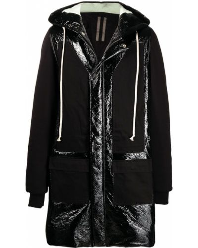 Bawełna z rękawami czarny płaszcz przeciwdeszczowy Rick Owens