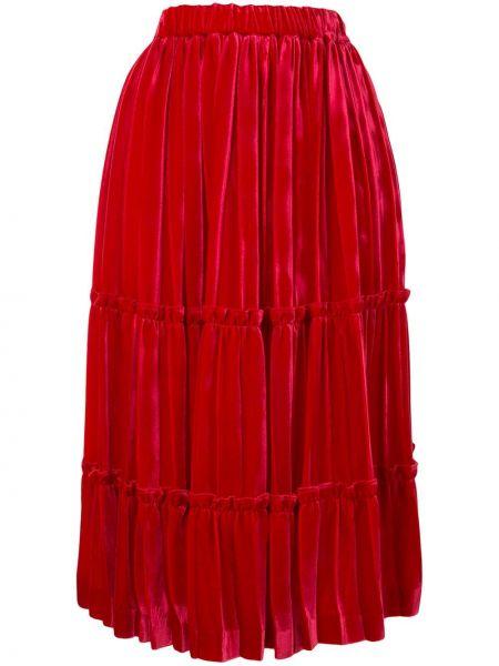 Расклешенная с завышенной талией юбка миди с оборками с поясом Comme Des Garçons