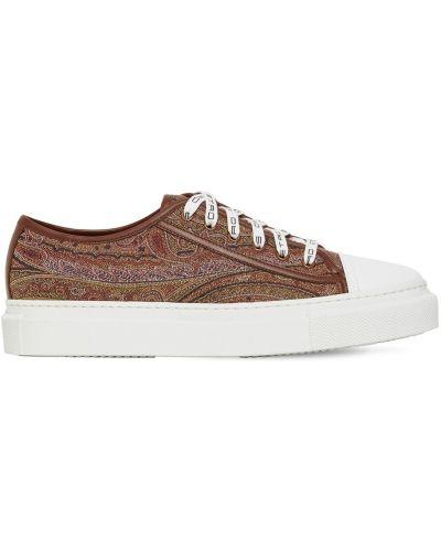 Кожаные кроссовки на шнуровке с подкладкой Etro