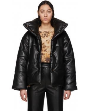 Кожаная куртка черная длинная Nanushka