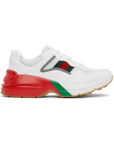 Białe sneakersy skorzane koronkowe Gucci