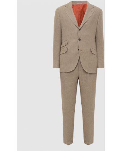 Костюмный бежевый льняной костюм Brunello Cucinelli