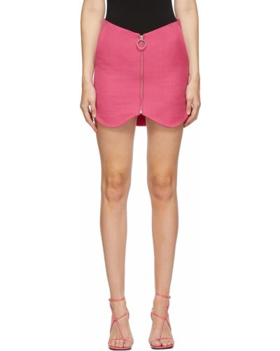 Różowa spódnica asymetryczna srebrna Pushbutton