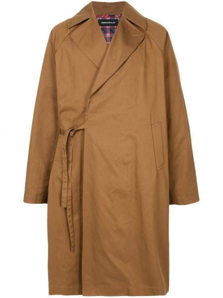 Brązowy płaszcz bawełniany z długimi rękawami Undercover