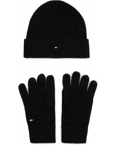 Rękawiczki wełniany czarny Tommy Hilfiger