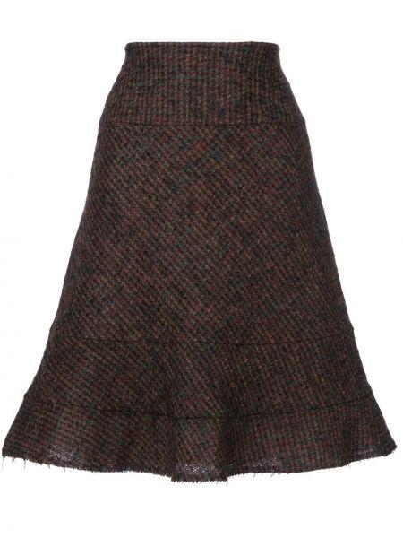 Коричневая расклешенная юбка на молнии винтажная Junya Watanabe Comme Des Garçons Pre-owned