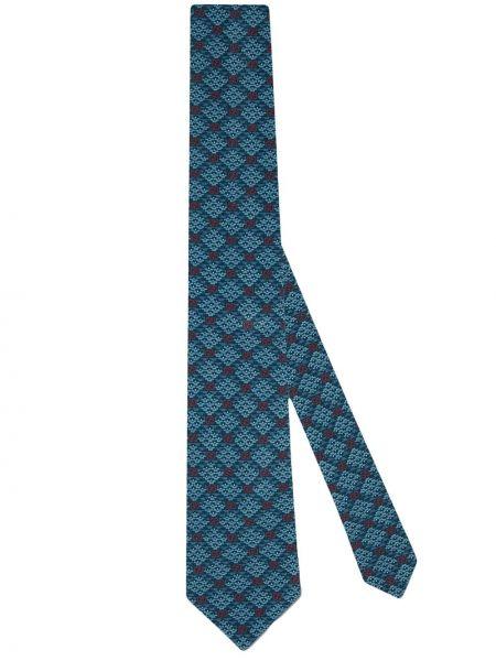Jedwab niebieski krawat Gucci