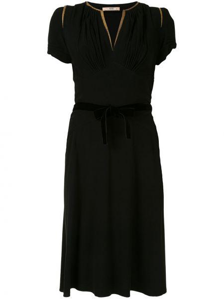 С кулиской черное платье мини с V-образным вырезом с короткими рукавами Prada Pre-owned