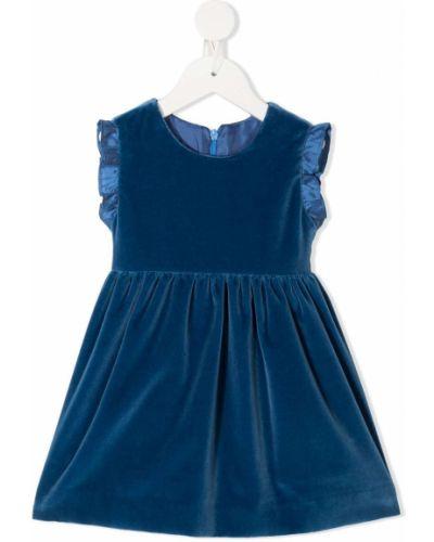 Бархатное расклешенное платье с оборками без рукавов Siola