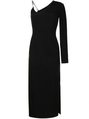Асимметричное черное платье миди с вырезом David Koma