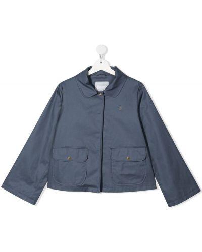 Ватная синяя длинная куртка с воротником Herno Kids