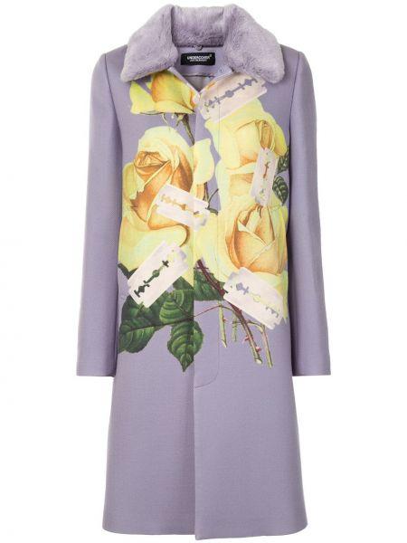Однобортное фиолетовое шерстяное длинное пальто Undercover