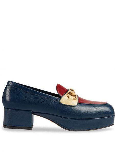 Кожаные синие лоферы на каблуке квадратные Gucci