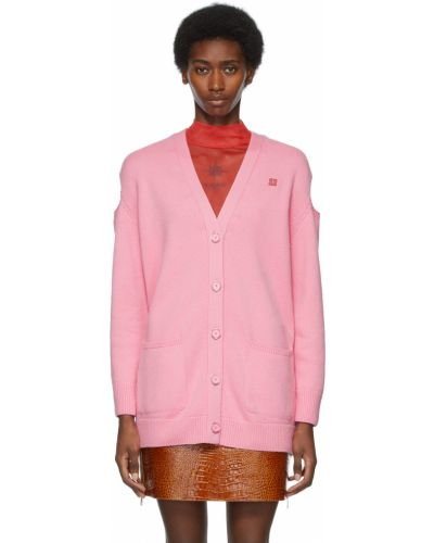 Różowy kardigan wełniany z długimi rękawami Givenchy